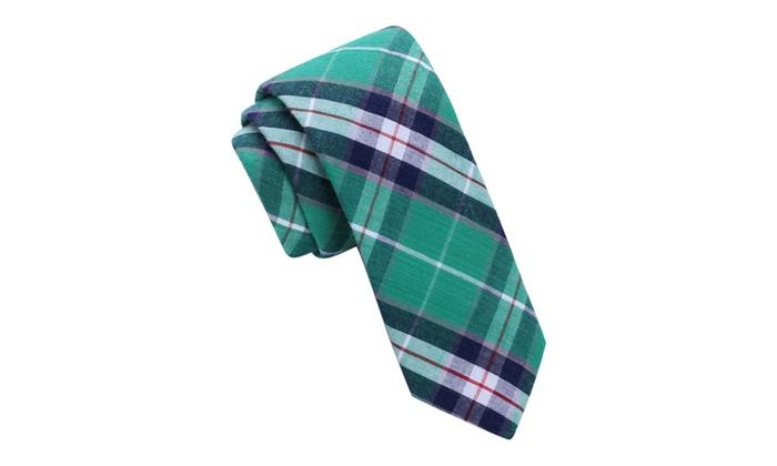 Skinny Tie Madness Men's All Apologies Green Plaid Skinny tie