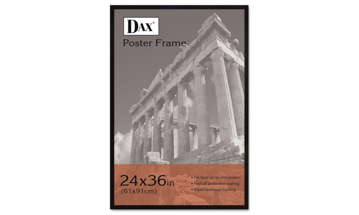 Dax Flat Face Wood Poster Frame Clear Plastic Window Black Border