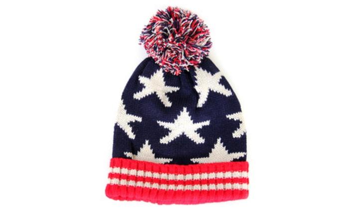 American Patriotic USA Flag Stars Stripes Pom Pom Beanie Hat