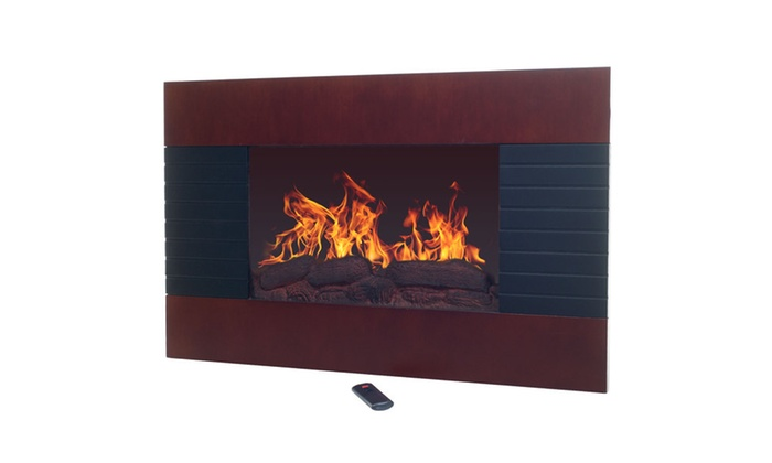 Mahogany Electric Fireplace with Wall Mount & Remote