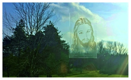Transparent Window Cling of Jesus