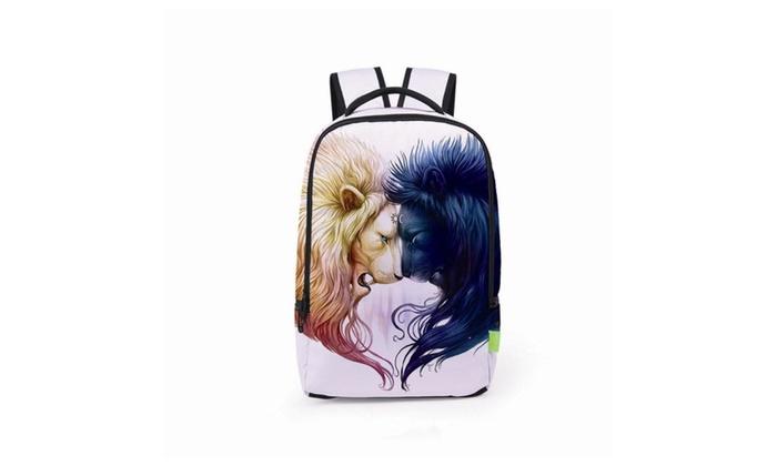 Unisex  Print Zipper School Bookbags Rucksack Travel Laptop Backpacks