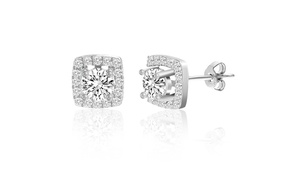 Crystal  Square Stud Sterling Silver