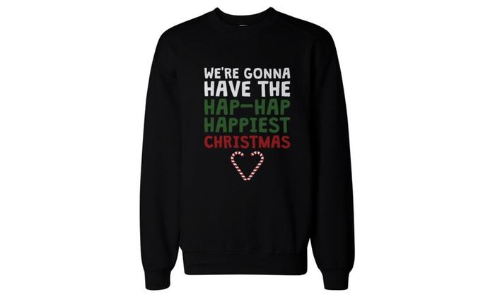 Hap-Hap Happiest Christmas Heart Candy Cane Sweatshirt Pullover Fleece