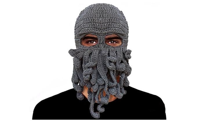 Funny Tentacle Octopus Beanie Crochet Knit Beard Hat Wind Ski Mask ... 36c3344e1f0
