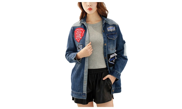 DPN Women's Rock Badge Hole Jean Jacket Short Denim Coat