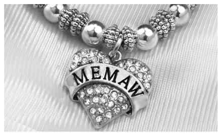 MEMAW Clear Crystal Heart on Silver Tone Beaded Stretch Bracelet