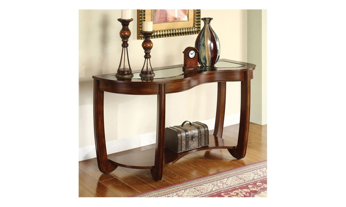 Foyer Table Macy S : Daven curved glass top dark cherry entryway table groupon