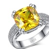 Zircon Stone Silver 4 Carat Yellow 925 Sterling Ring for Women