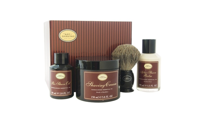 the art of shaving the perfect shave kit sandalwood men 4 pc kit groupon. Black Bedroom Furniture Sets. Home Design Ideas