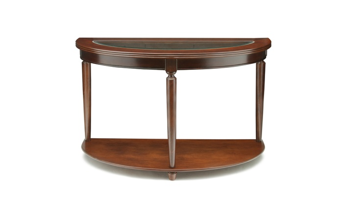 Foyer Table Deals : Donnis glass top half moon cherry entryway table groupon