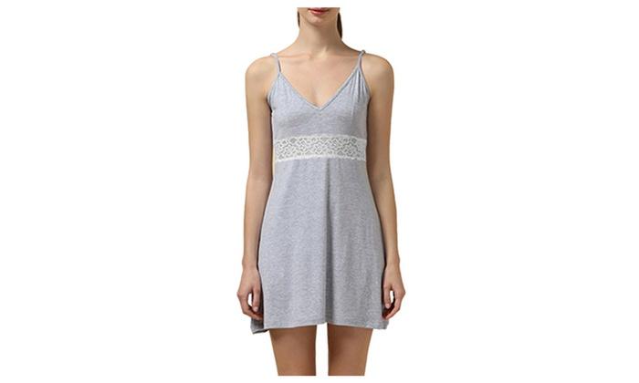 Women's v Neck Lace Sleepwear Chemise Slip Nightgown Pajamas
