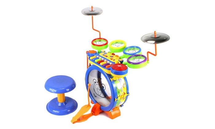 junior dj drum band 2 in 1 children 39 s toy drum keyboard play set groupon. Black Bedroom Furniture Sets. Home Design Ideas