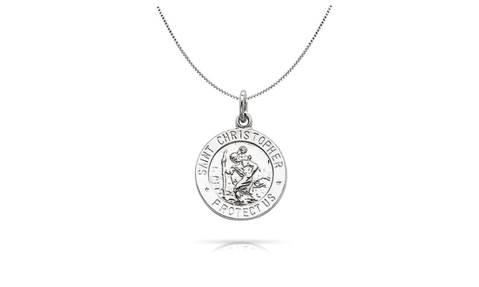 4452ad4b07d Bling Jewelry Mens 925 Silver St Christopher Medal Pendant Necklace ...