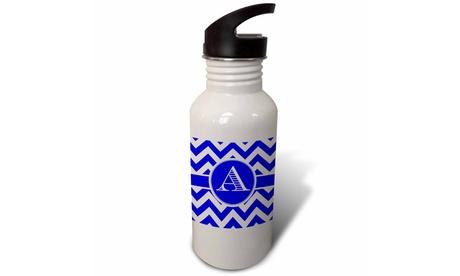 Straw Water Bottle Blue and white chevron monogram white initial A photo