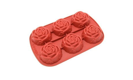 Freshware 6-Cavity Rose Silicone Mold for Muffin, Cupcake, and Pudding 0f94ddb9-b856-4bea-8ddb-85f84a749cf1