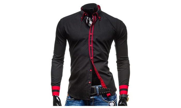 Men's Casual Contrast Slim Fit Long Sleeves Lapel Shirt
