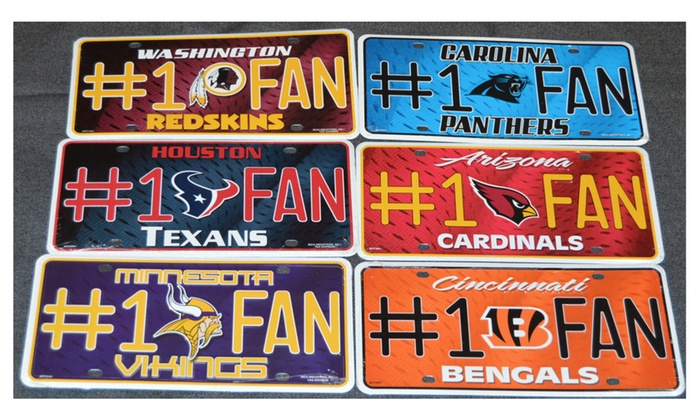 Officially Licensed NFL Football Number One Fan License Plate