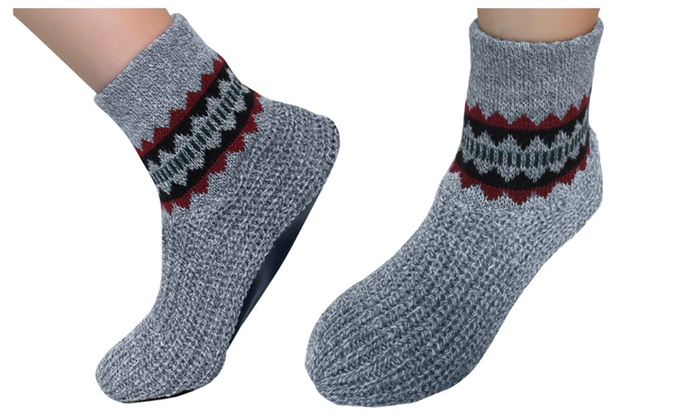 Evelots Stretchy Knit Warm Snuggle Slippers With Vinyl Soles, Gray