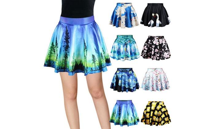 Fashion Women/'s High Waist Pleated Floral Short Mini Skirt Skater Flared Dress