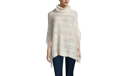 CLICHE Cable Poncho with Fringe
