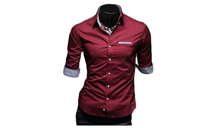 Mens Slim Fashion Casual Business Uniform Lapel Shirt