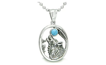Amulet Courage Howling Wolf Moon Gemstone Lucky Charm Pure Stainless Steel Pendant Necklace