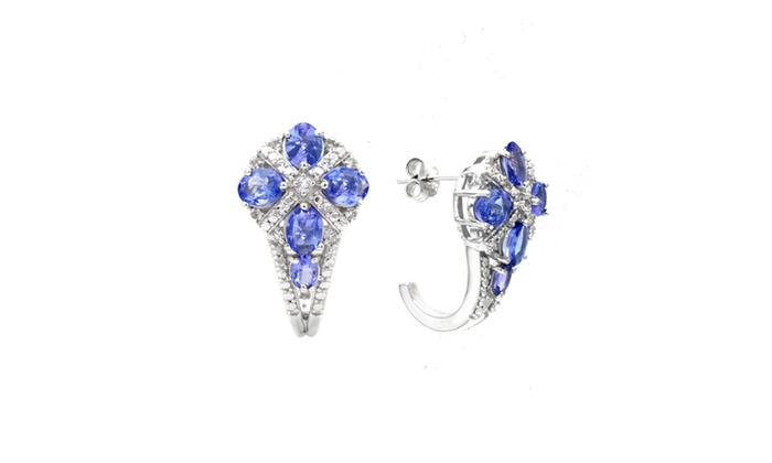 Genuine Tanzanite Earrings In Sterling Silver