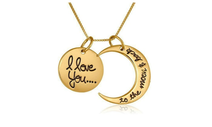 quoti love you to the moon and backquot moon pendant necklace