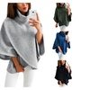 Womens Loose Retro Round Neck Bat Sleeve Solid Sweater Outwear