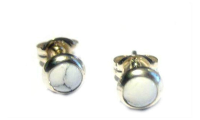 Sterling Silver Stud Earrings With Choice Of White Buffalo Turquoise Or Black Onyx C Lime Green