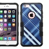 Insten Diagonal Plaid Hybrid Case For iPhone 6 6s Plus Blue White