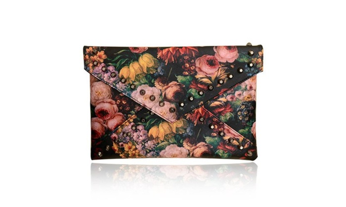 Clutch With Rivets and Oil Painting Design