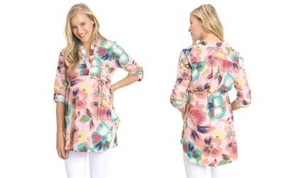 3cd09850f Shop Groupon Women s Roll-Up Sleeve Hi-Low Printed Maternity Tunic