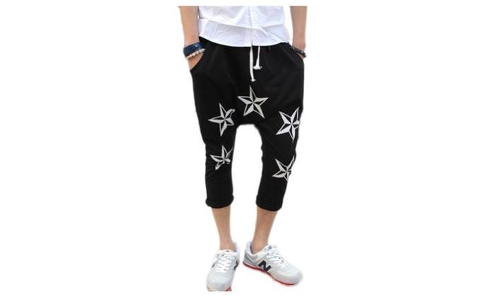 JIES Men's Casual Dancing Jogging Sweat Shorts Star Printed Shorts