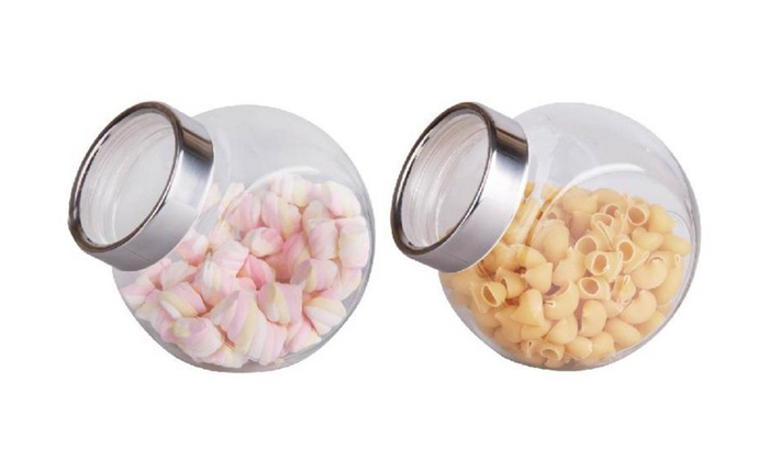 Buy It Now : 2 Pc Glass Jar Canister Set With Stainless Steel Lids