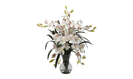 Nearly Natural Large Cymbidium w/Vase Arrangement White caba238d-1579-4e55-ab63-634c19c7900c