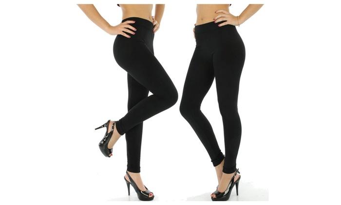 2 Pack Of mod & tone Womens Black Heavy Fleece Winter Leggings (QUEEN)
