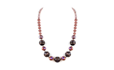 Mona Collection Plum Murano Glass and Crystal Necklace 18' with 2' Extension