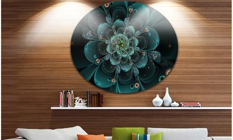 Full Bloom Fractal Flower in Blue' Large Flower Metal Circle Wall Art 88dda957-07d2-4249-9171-f4c6c31e0ae3