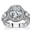 3.38 TCW Oval-Cut CZ Halo Ring