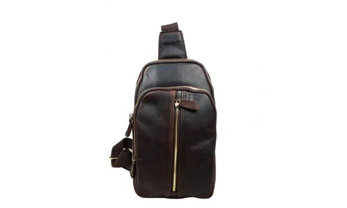 Men's Pu Leather Shoulder Bag Crossbody Sling Hiking Satchel Chest Bag