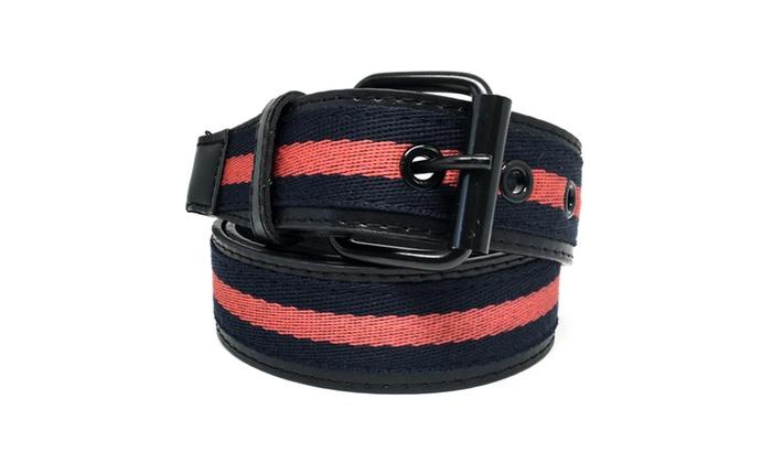 Faddism Unisex Tricolor Canvas Center Leather Belt Signis
