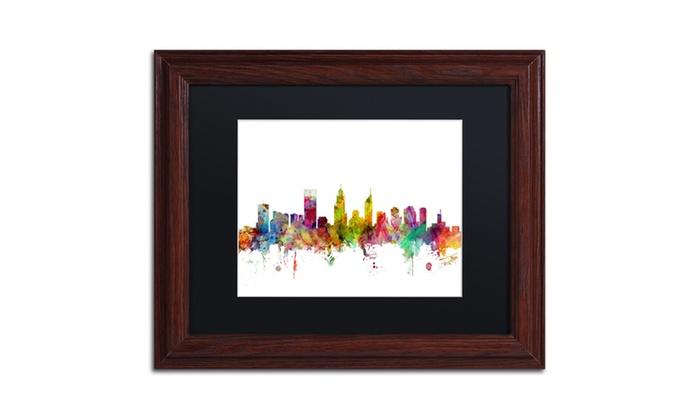 Michael Tompsett \'Perth Australia Skyline\' Matted Framed Art | Groupon
