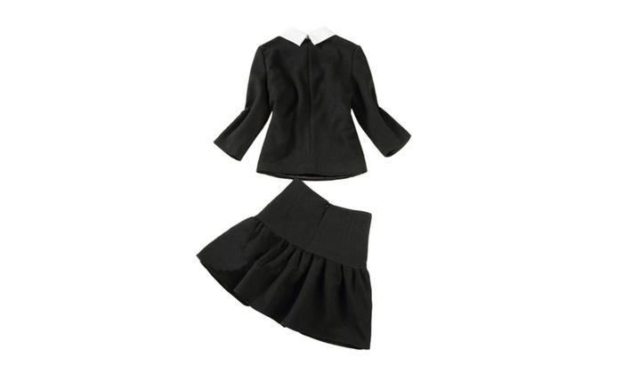 Shefetch Women's Winter Long Sleeve Beads Sweet Doll Collar Skirt Top Set