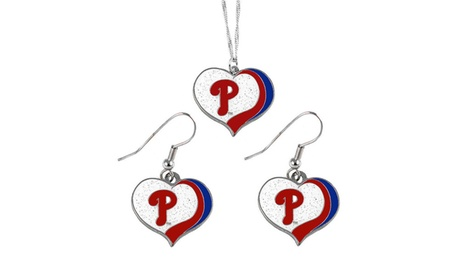 Philadelphia Phillies MLB Glitter Heart Necklace and Earring Set 3f6ce775-1790-44cb-bba8-c097b9957987