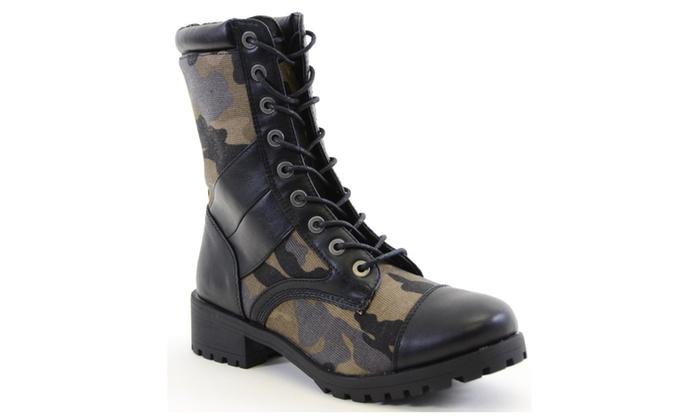 Cap Toe Black Camoflauge 8i Lace Up Lug Sole Vegan Boots Women's