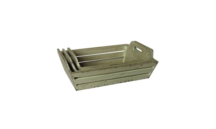 Cheungs 3 White Wooden Slat Tapered Crates With Raised Side Handles