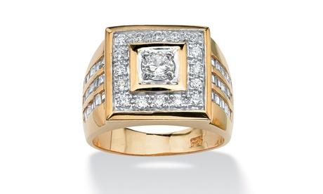 Men's 2.18 TCW CZ 14k Gold-Plated Square Ring c7f10784-d7c8-488f-a7e8-16a9788bb8df
