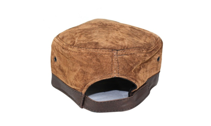 Shefetch Men's Fashion Outdoor Fishing Leather Peaked Flat High Cap